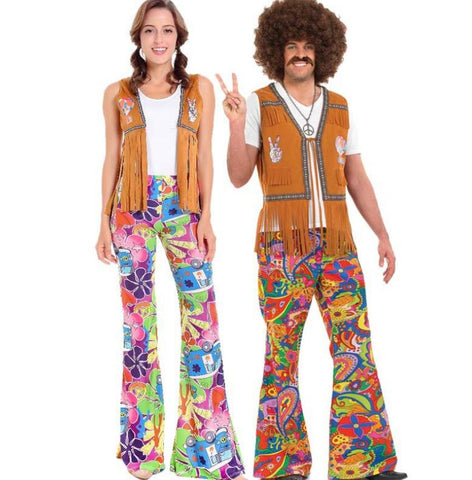 Hippie Couple Costume 60s 70s Retro Party Clothes-Costume-PocketOutdoor-PocketOutdoor