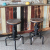 Stool with rustic cafe background