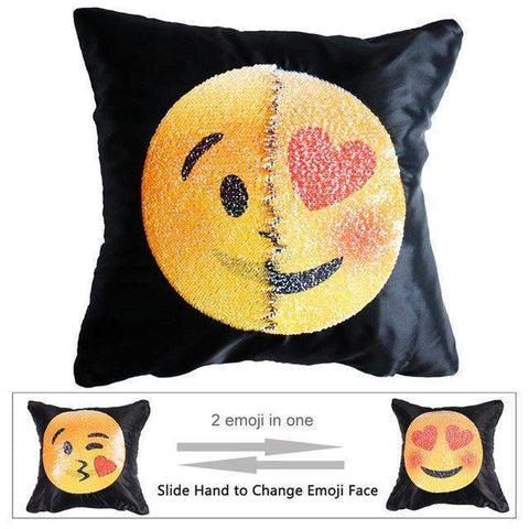 Reversible Emoji Sequin Mermaid Pillow Cover-Emoji-Pocket Outdoor-Kissing and love-Pocket Outdoor