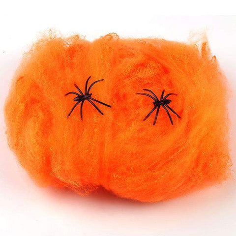 Stretchy Spider Web With Spider for Halloween Party Decoration-Spider web-Pocket Outdoor-Orange-Pocket Outdoor