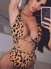 Load image into Gallery viewer, Deep V-Neck  Cutout Drawstring Patchwork  Leopard One Piece