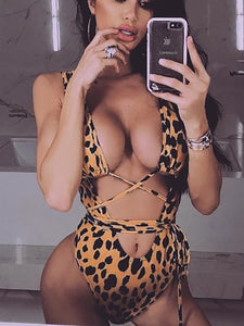 Deep V-Neck  Cutout Drawstring Patchwork  Leopard One Piece