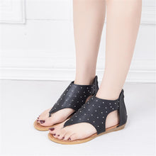 Load image into Gallery viewer, Women's rivet open toe flat sandals