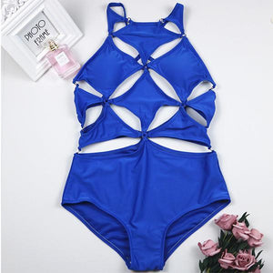 Spaghetti Strap  Geometric Hollow Out One Piece