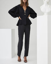 Load image into Gallery viewer, V-Neck Ruffled Lantern Sleeves Trouser Suit