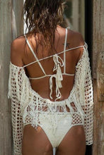 Load image into Gallery viewer, Bohemia Hollow Halter Tassels Bikini Blouse