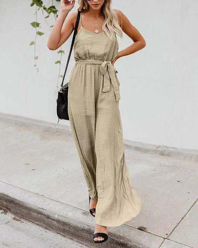 Cotton And Linen Suspenders Wide-Leg Jumpsuit