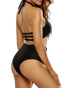 Halter  Backless Cutout  Plain One Piece