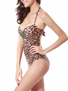 Sexy Leopard Halter  Back Hole  One Piece