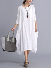 Load image into Gallery viewer, Oversized Round Neck Pocket  Plain Maxi Dress