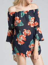 Load image into Gallery viewer, Off Shoulder  Hollow Out Printed  Kimono Sleeve Tunic