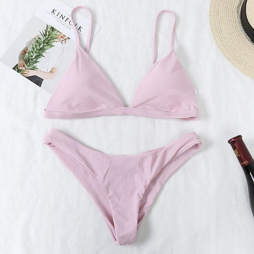 Belong To You Solid-Color Bikini Set