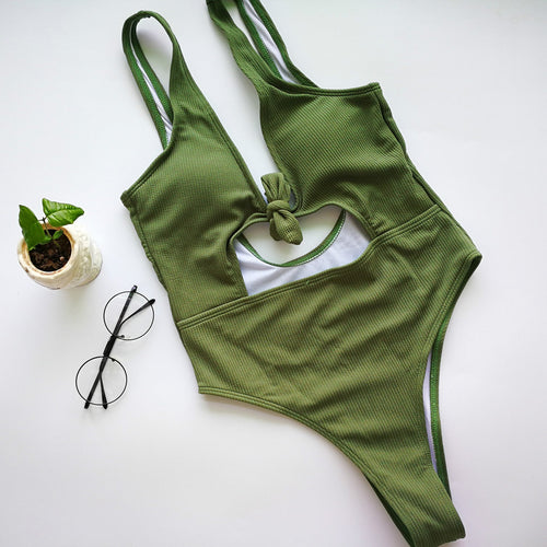 Hollow Solid-Color One-Piece Swimsuit