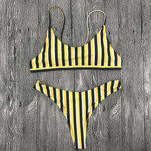 Load image into Gallery viewer, Yellow Navy Style Stripes Bikini