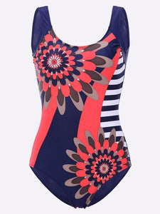 Sexy Low Back Sun Flower Printing Bodysuit Bathing Suits One Pieces