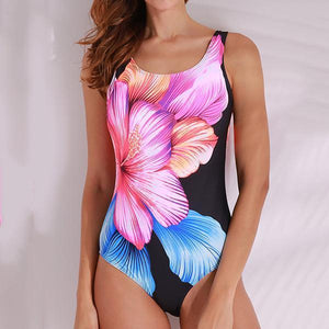 Floral Printed Wireless Backless One Pieces Swimwear