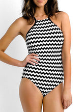 Load image into Gallery viewer, Asymmetric Neck  Striped One Piece