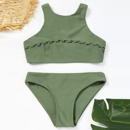 Green High Waist Plain Swimwear