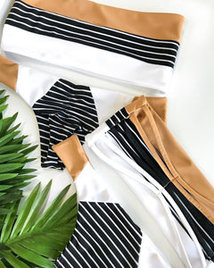 Lovely Stripe Printed Swimsuit
