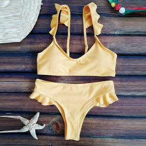 Cute Flounced Plain Bikini Set Swimwear