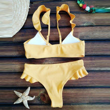 Load image into Gallery viewer, Cute Flounced Plain Bikini Set Swimwear