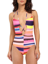 Load image into Gallery viewer, Tie Collar  Striped One Piece