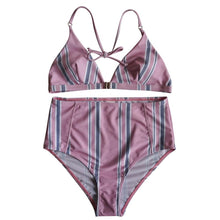 Load image into Gallery viewer, Stripe Printing Sexy Halter Swimsuit