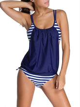 Load image into Gallery viewer, Split Double Strap Swimsuit Stripes Swimwear