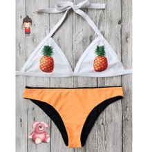 Load image into Gallery viewer, Pineapple Print Run Color Split Swimsuit