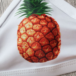 Pineapple Print Run Color Split Swimsuit