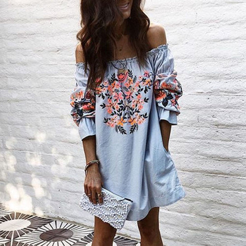 Off Shoulder Floral Printed Mini Dresses