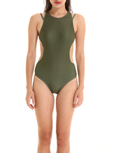 Round Neck  Plain One Piece