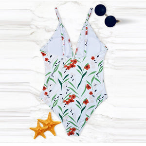 Fresh Floral Printed One-Piece Swimwear