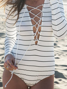 Deep V-Neck  Lace-Up  Striped One Piece