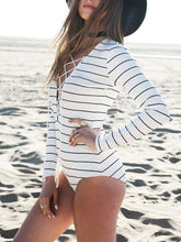 Load image into Gallery viewer, Deep V-Neck  Lace-Up  Striped One Piece