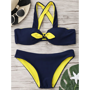 Spell Color Bow-Knot Swimwear Bikini Set