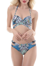 Load image into Gallery viewer, Halter  Lace-Up  Printed Bikini