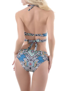 Halter  Lace-Up  Printed Bikini