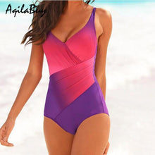 Load image into Gallery viewer, Gradient Rainbow Colors Plus Size Swimwear