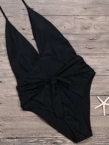 Deep V-Neck  Bowknot  Plain One Piece