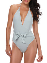 Load image into Gallery viewer, Deep V-Neck  Bowknot  Plain One Piece