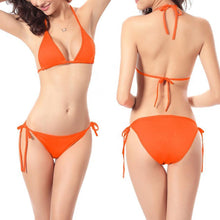 Load image into Gallery viewer, Sexy Halter Pure Color Bikini Swimwear