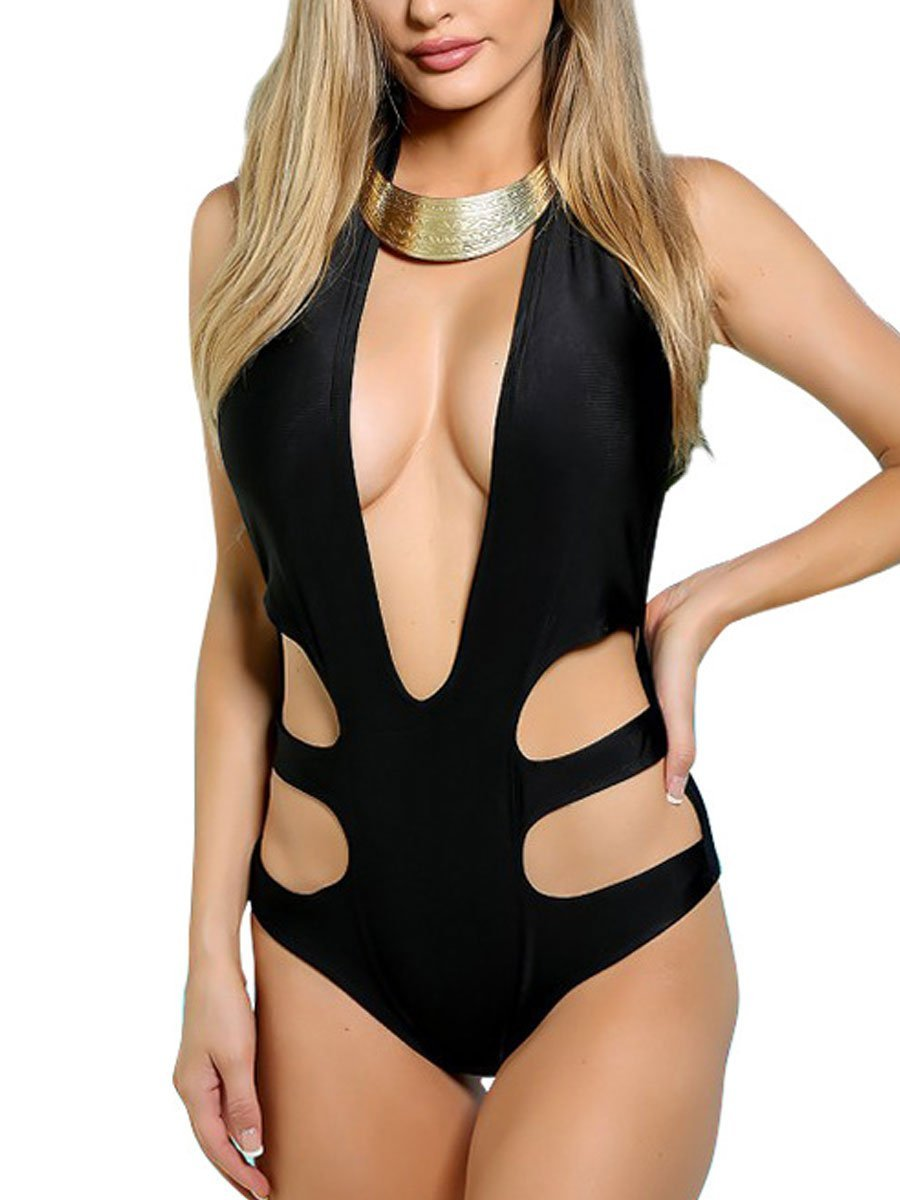 Collarless  Backless  Glitter  Plain One Piece
