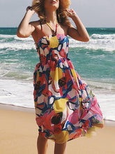 Load image into Gallery viewer, Sexy Strapless Collar Sleeveless Printed Expansion Vacation Dress