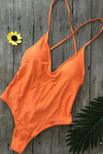 Load image into Gallery viewer, Spaghetti Strap  Backless  Plain One Piece