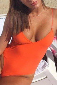 Spaghetti Strap  Backless  Plain One Piece