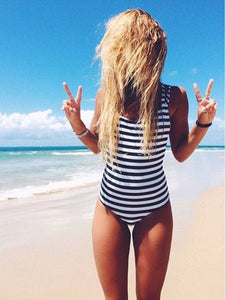Spaghetti Strap  Striped One Piece