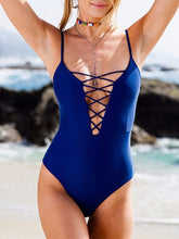 Load image into Gallery viewer, Spaghetti Strap  Lace-Up  Plain One Piece