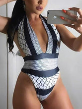 Load image into Gallery viewer, Halter  Asymmetric Stripe One Piece