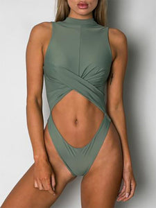 High Neck  Plain One Piece